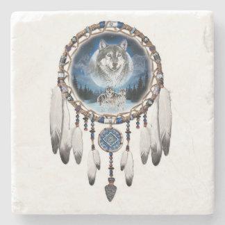Dream Catcher with wolf background Stone Coaster