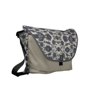 Dream Floral in Cream and Gray Commuter Bag