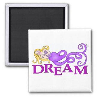 Dream Mermaid Muse Square Refrigerator Magnets