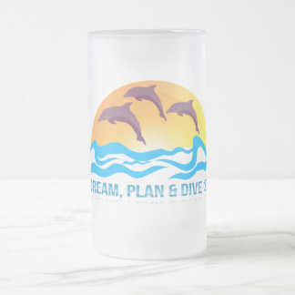 Dream, Plan & Dive © 473 ml  Frosted Glass Mug