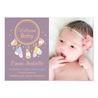 Dreamcatcher New Baby Newborn Birth Announcement