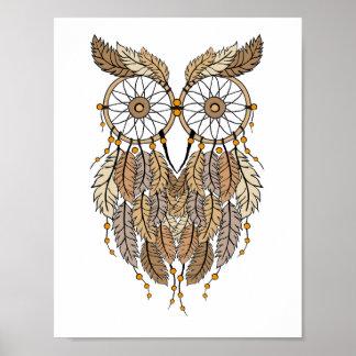 dreamcatcher owl, tribal dream catcher poster
