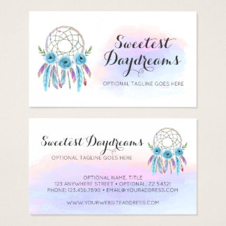 Dreamcatcher Watercolor Feathers Rustic Boho Chic Business Card