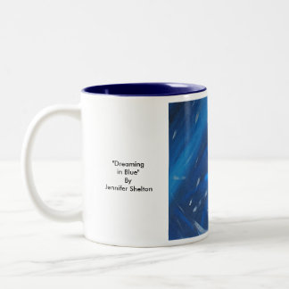 """Dreaming in Blue"" By Jennifer Shelton Two-Tone Coffee Mug"