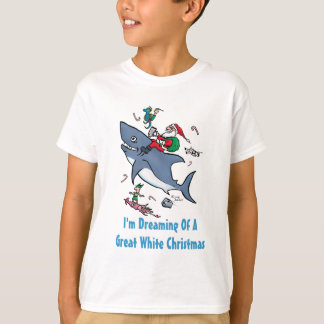 Dreaming Of A Great White Shark Christmas T-Shirt