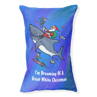 Dreaming Of A Great White Shark Funny Christmas Pet Bed