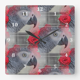 Dreamy African Grey with Red Roses Square Wall Clock
