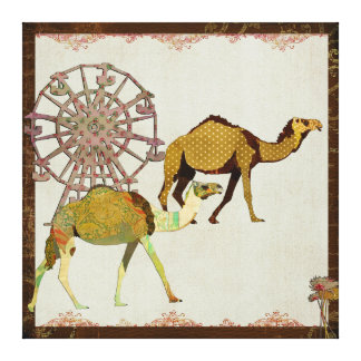 Dreamy Camels Carnival Canvas Stretched Canvas Prints