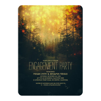 Dreamy Forest String Lights Trees Engagement Party Card