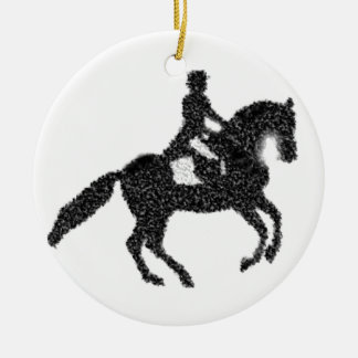 Dressage Horse and Rider Mosaic Design Christmas Ornament
