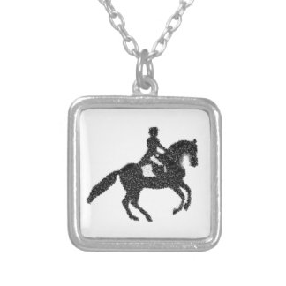 Dressage Horse and Rider Mosaic Design Silver Plated Necklace