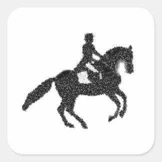Dressage Horse and Rider Mosaic Design Square Sticker