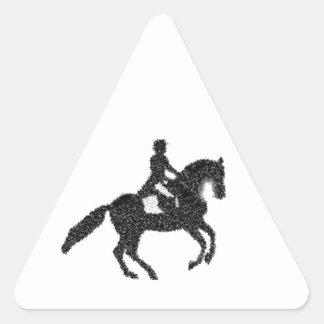 Dressage Horse and Rider Mosaic Design Triangle Sticker