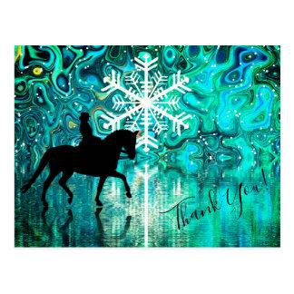Dressage Horse, Rider Winter Snowflake Thank You Postcard