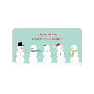 Dressed Snowman Holiday Gift Tag/Favor Stickers Address Label