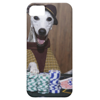 Dressed up Whippet dog at gambling table iPhone 5 Cases