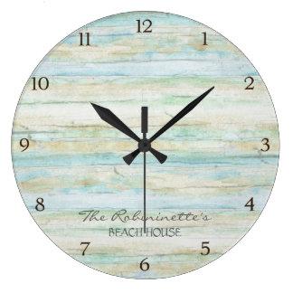 Driftwood Ocean Beach House Coastal Seashore Wall Clock