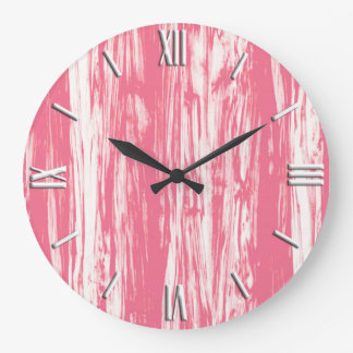 Driftwood pattern - coral pink and white large clock