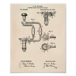 Drills 1893 Patent Art Old Peper Poster