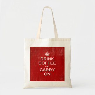 Drink Coffee and Carry On, Keep Calm Parody Budget Tote Bag