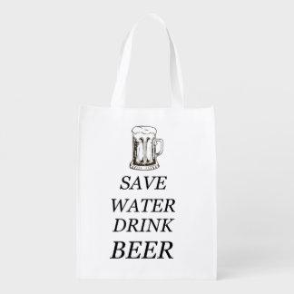 Drink Food Beer Reusable Grocery Bag