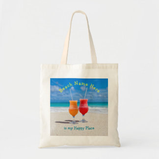 Drinks on Beach Personalised Happy Place Tote