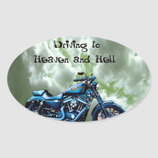 Driving to Heaven and Hell Oval Sticker