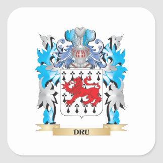 Dru Coat of Arms - Family Crest Square Sticker