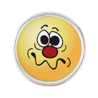 Drugged Smiley Face Grumpey Lapel Pin