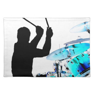 Drummer sticks in air shadow blue invert drums placemat