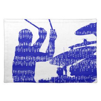 Drummer sticks shadow blue w music grunge placemat