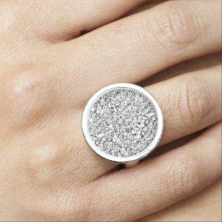 Druzy crystal - white gold color ring