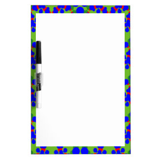Dry Erase Board with Vibrant Blue Design Border
