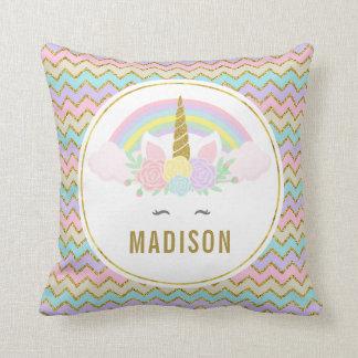 Dual Side Magical Rainbow and Unicorn Throw Pillow