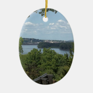 Dubuque Iowa from the Mississippi River Christmas Ornament