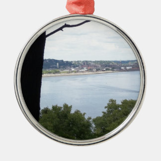 Dubuque Iowa on the Mississippi River Christmas Ornament