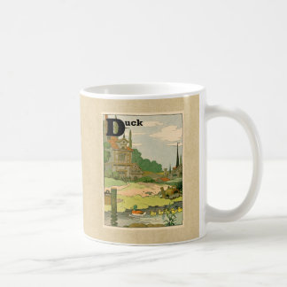 Duck and Ducklings Swimming on the River Basic White Mug