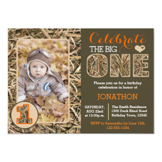 Duck Camo / Camouflage First Birthday Party 11 Cm X 16 Cm Invitation Card