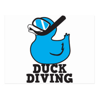 Duck Diving with rubber duckie mask Postcard