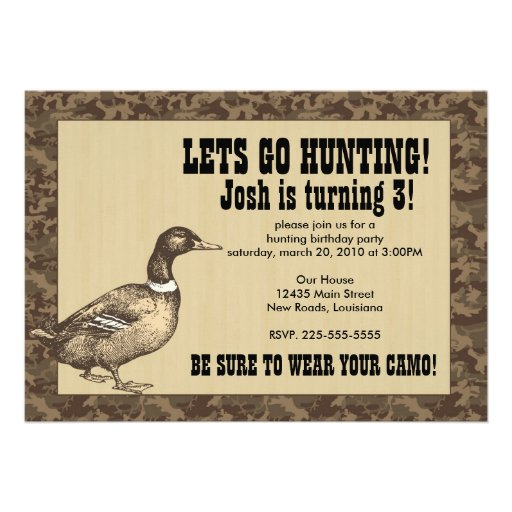 Duck Hunting Birthday Personalized Invite