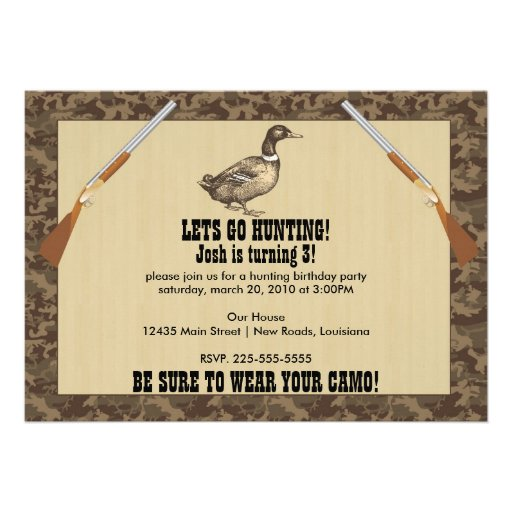 Duck Hunting Birthday Announcements