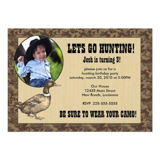 Duck Hunting Birthday Custom Invitations