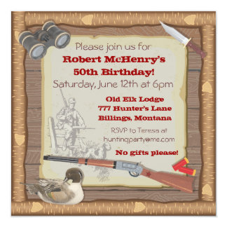 "Duck Hunting Invitation with wood frame 5.25"" Square Invitation Card"