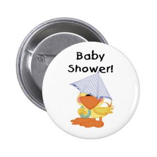 Duck with Blue Umbrella Baby Shower 6 Cm Round Badge