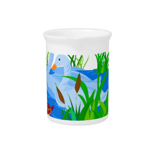 Ducks in water pitcher