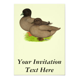 Ducks:  Khaki Calls 13 Cm X 18 Cm Invitation Card