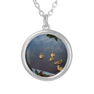 DUCKS pond nature printed gifts KIDS love bird pet Round Pendant Necklace