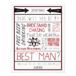 Dude, Will you be my Best Man? Red/Black Collage Custom Announcement