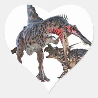 Dueling Dinosaurs Heart Sticker