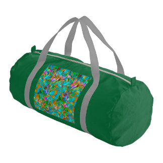 Duffle Gym Bag Floral Abstract Stained Glass Gym Duffel Bag